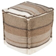 Sleek Stripe Pouf Ottoman in Mushroom