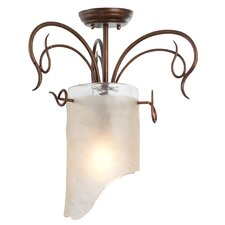 Soho 1 Light Semi Flush Mount in Hammered Ore