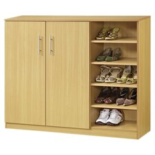 Grande 5 Shelf Shoe Cabinet in Walnut