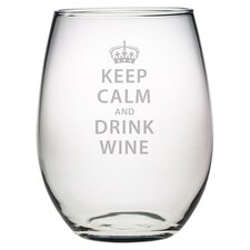 Keep Calm & Drink Wine Stemless Wine Glass