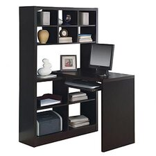Bookcase Corner Desk in Cappuccino