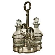 5 Piece Condiments Set in Pewter
