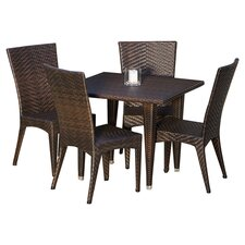 Brooke 5 Piece Dining Set in Dark Brown