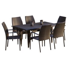 Canoga 7 Piece Dining Set in Dark Brown