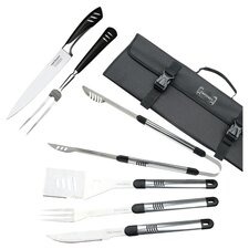 7 Piece BBQ & Carving Set in Stainless Steel