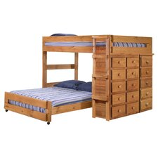 Full Over Full L-Shaped Bunk Bed in Ginger Stain
