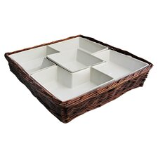 Willow 5 Section Chip & Dip Serving Tray in Brown