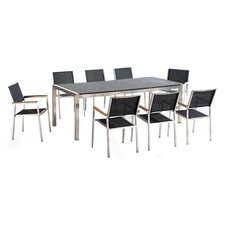 Grosseto 9 Piece Dining Set in Stainless Steel