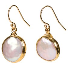 Round Cut Cultured Pearl Drop Earrings in Gold & Pink