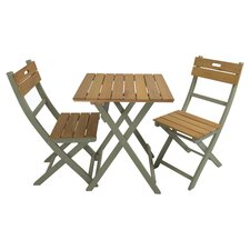 Florenity 3 Piece Bistro Set in Teak & Green