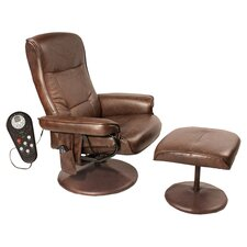 Relaxzen Leisure Reclining Massage Chair & Ottoman Set