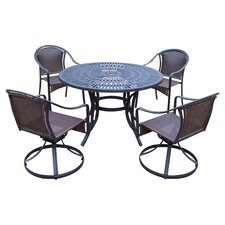 Sunray 5 Piece Swivel Dining Set in Black