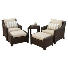 Slate 5 Piece Seating Group in Espresso with Tan Cushions