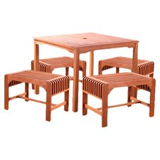 Square 5 Piece Bench Dining Set in Natural