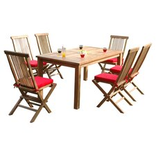 Montage 7 Piece Dining Set in Light Brown with Red Cushions