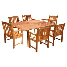 Patio 7 Piece Slat Back Dining Set in Natural