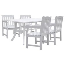 Bradley 5 Piece Dining Set in White