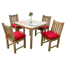 Bahamas Square 5 Piece Dining Set in Teak with Red Cushions
