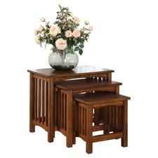 Valencia 3 Piece Nesting Table Set in Brown