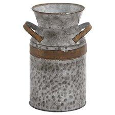 Asiatic Antique Milk Can in Galvanized Silver