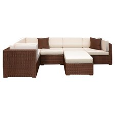 Aventura 6 Piece Seating Group in Brown with Beige Cushions