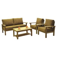Amazonia Teak  4 Piece Seating Group in Brown with Cushion