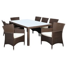 Atlantic Liberty 9 Piece Dining Set in Brown with Off-White Cushions
