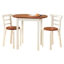 3 Piece Dining Set in White