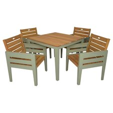 Florenity 5 Piece Dining Set in Teak & Green