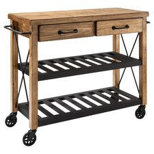 Málaga Wood Top Kitchen Cart in Natural