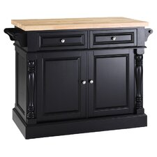 Valentia Butcher Block Top Kitchen Island in Black