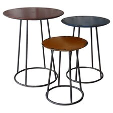 Russon 3 Piece End Table Set in Black