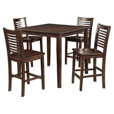 Aspendale 5 Piece Pub Dining Set in Walnut