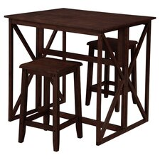 Console 3 Piece Counter Height Dining Set in Brown
