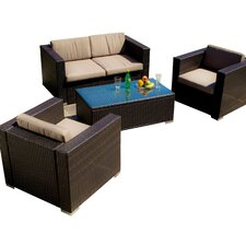 Asante 4 Piece Seating Group in Brown with Tan Cushions