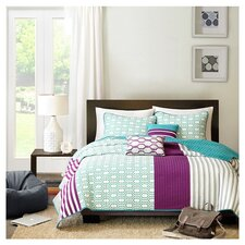 Halo Duvet Set in Purple & Teal