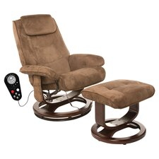 Beachwood Massage Recliner & Ottoman in Brown