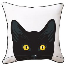 Yellow Eyes Cat Reversible Throw Pillow in White & Black