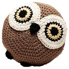 Owl Crochet Throw Pillow in Brown