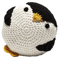 Penguin Crochet Throw Pillow in Black & White