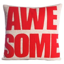 Awesome Throw Pillow in Oatmeal & Red