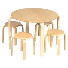 Kid's Nordic 5 Piece Table & Stool Set in Natural