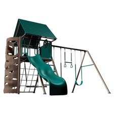 Earthtone Play & Swing Set in Green & Tan