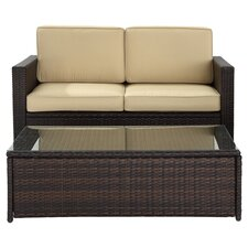Playa Del 2 Piece Deep Seating Group in Brown with Cream Cushions