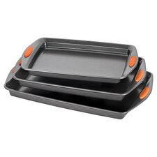 Yum-O 3 Piece Nonstick Cookie Pan Set in Grey & Orange