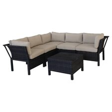Napa 6 Piece Seating Group in Brown with Taupe Cushions