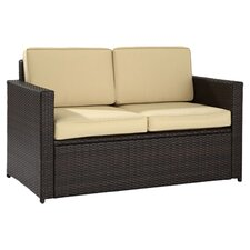 Palm Harbor Loveseat in Brown with Khaki Cushions