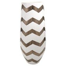 Chevron Vase in Bronze & White
