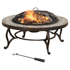 Pleasant Hearth Elizabeth Slate Fire Pit in Rubbed Bronze