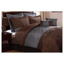 Harmony 8 Piece Comforter Set in Blue & Chocolate